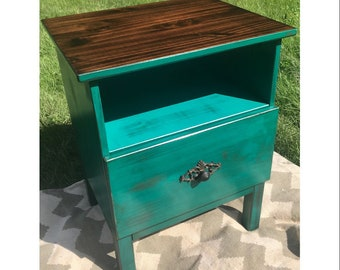 Shabby Chic Distressed Turquoise Night Stand Table W/Drawer Farm House  Decor Small Table