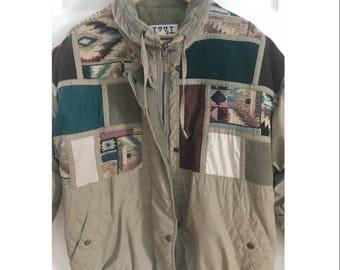 577ddbc733 Vintage 90s Aztec Print Patch Corduroy Patch Retro Jacket Vintage Ski Jacket  Womens Funky Colorful Vintage 90s Coat