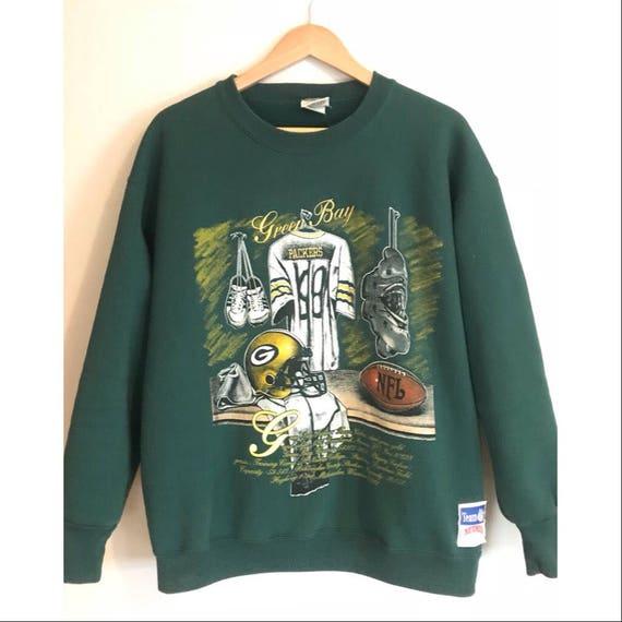wholesale dealer 7aad8 2038c Vintage Green Bay Packers Sweatshirt 90s Football Crewneck Vintage NFL  Retro Rare Packers Crewneck Nutmeg Mills SIZE XL
