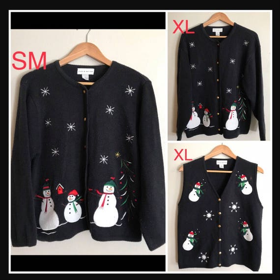 Couples Christmas Sweaters & Vest Set of 3 Vintage