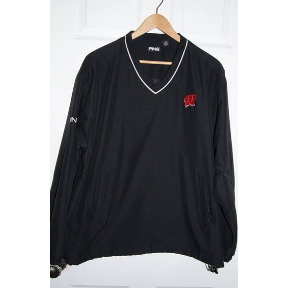 Wisconsin Badgers Pullover PING Jacket Black Badge