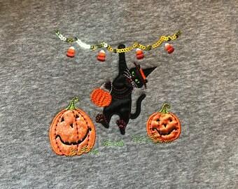 Halloween Cat Pumpkin Crewneck Sweatshirt Ugly Sweater Party