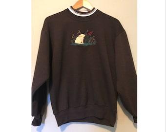 Vintage Bunny & Cardinal Scene Crewneck Sweatshirt Holiday Winter Scene Sweatshirt SIZE M