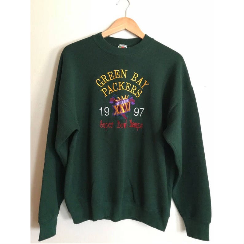 pretty nice 676fd b6354 Vintage Green Bay Packers Sweatshirt 90's NFL Packers Crewneck Oversized  Football Sweatshirt SIZE L