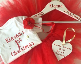 Baby girls First Christmas personalised  vest and tutu dress set with personalised hanger.