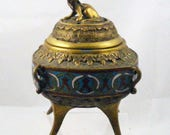 Chinese Bronze and Cloisonne Censer, Probable Qing Dynasty, Republic, China, Incense, Oriental, Asian,