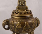 Chinese Bronze Censer, Ming Xuande Mark, Later Buddha Imagery, Import, Qing, Republic, Incense, China,