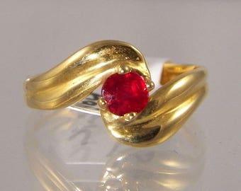 14k Vintage Ruby Ring, , Round Cut Burma Ruby, 0.44 ct,  Appraised Value 2240,  Gem Grade Ruby, July Birthstone
