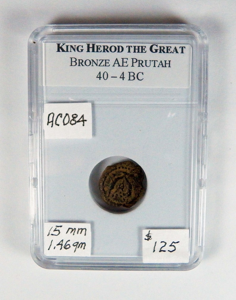 King Herod The Great Prutah Bronze Coin 40 To 4 Bc Very Rare Certified Biblical Coin Birth Of Christ Ancient Coin