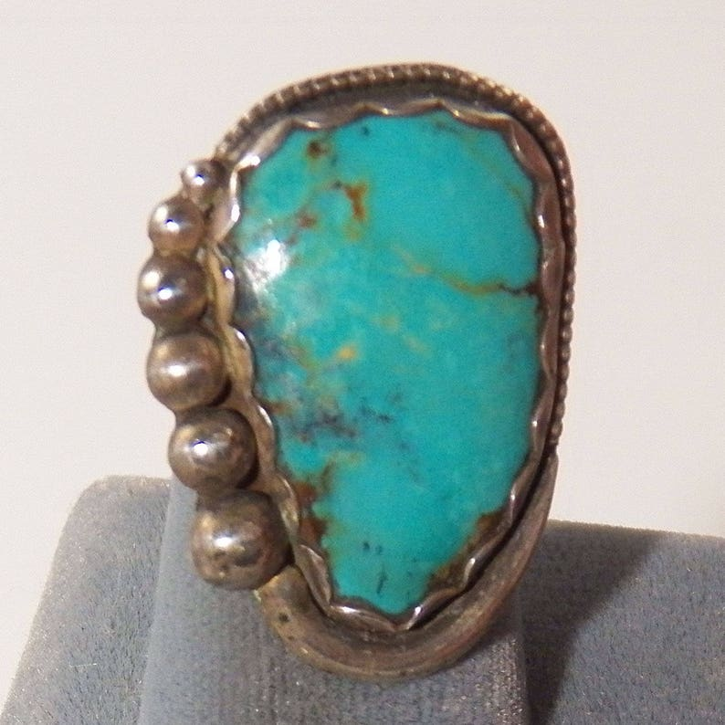 Vintage Silver Ball decorations Ladies Sterling Silver and Kingman Green Turquoise Ring Solid Stone December Birthstone