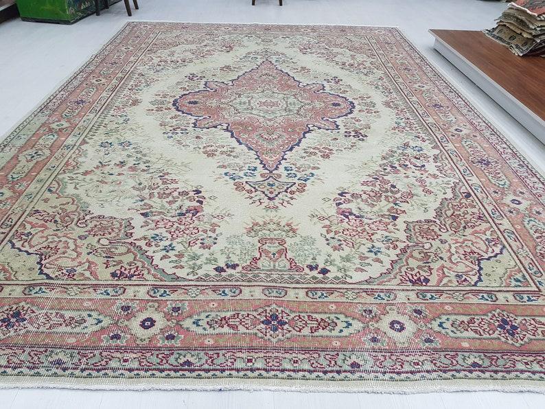 8 X11 Large Rug Room Size Rug Kitchen Rug Living Room Rug Designers Rug Large Turkish Rug Large Oushak Rug Entry Rug Vintage Rug