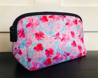 3401764aefe073 Pink and Blue Floral Print Make Up Bag Zippered Blanks Neoprene Ready for  Personalization Custom