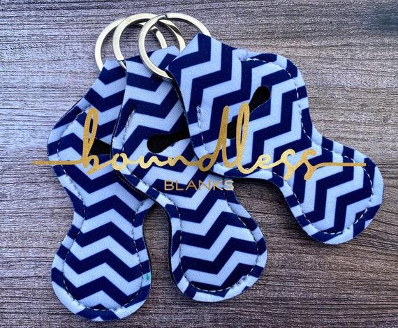 Dark Blue and White Chevron printed Keychain chapstick holder a25