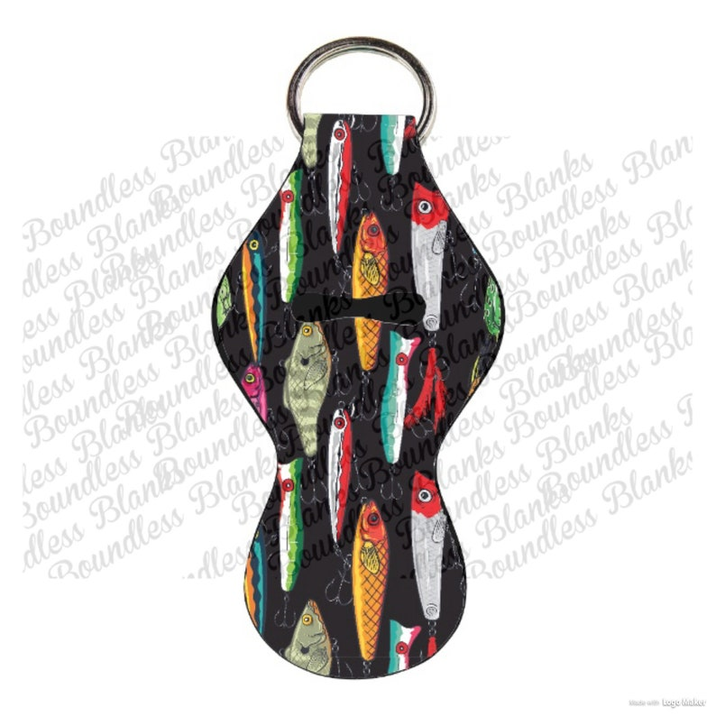 Fishing Lure Print Chapstick Holder Wholesale Party favor Other colors  available Neoprene Keychain (No  )Now Personalizing