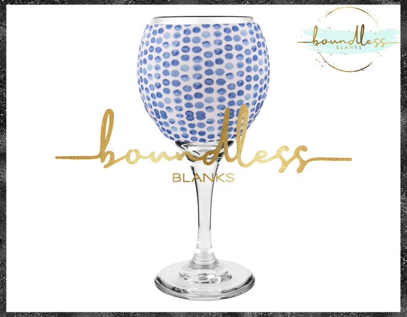 Blue Speckled Dot Wine Glass Sleeve l Custom Cozy l HTV Vinyl Blanks l Wine Hugger l Monogram Gift l Neoprene Beverage Coolie