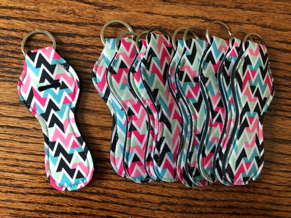28d69d6ee1c8c Pink and Teal Chevron print Lipsense Lipgloss Holder Wholesale bulk Party  favor Other colors available Neoprene Keychain