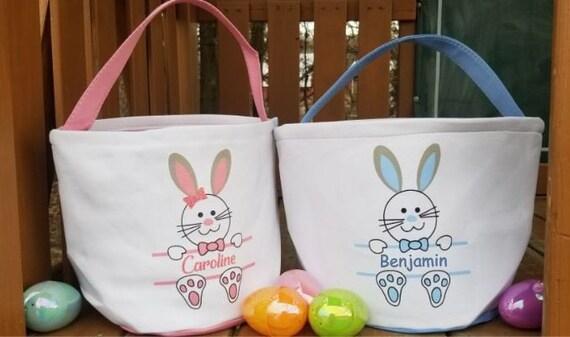 Personalized Easter Bag Personalized Easter Basket Easter Egg Hunt Bag