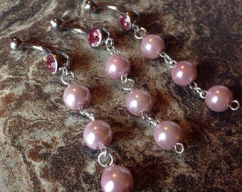 Pink Pearl Dangle Belly Ring