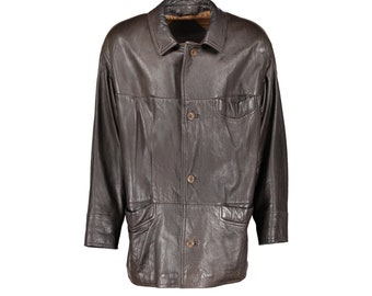 353c40a1aa7 Yves Saint Laurent Pour Homme Brown Leather Hip Length Jacket