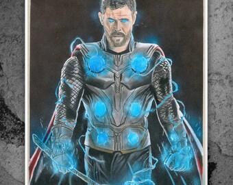 Thor Chris Hemsworth Avengers Infinity War Illustrated Etsy