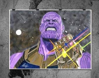Thanos - Infinity War - Illustrated Matt Print