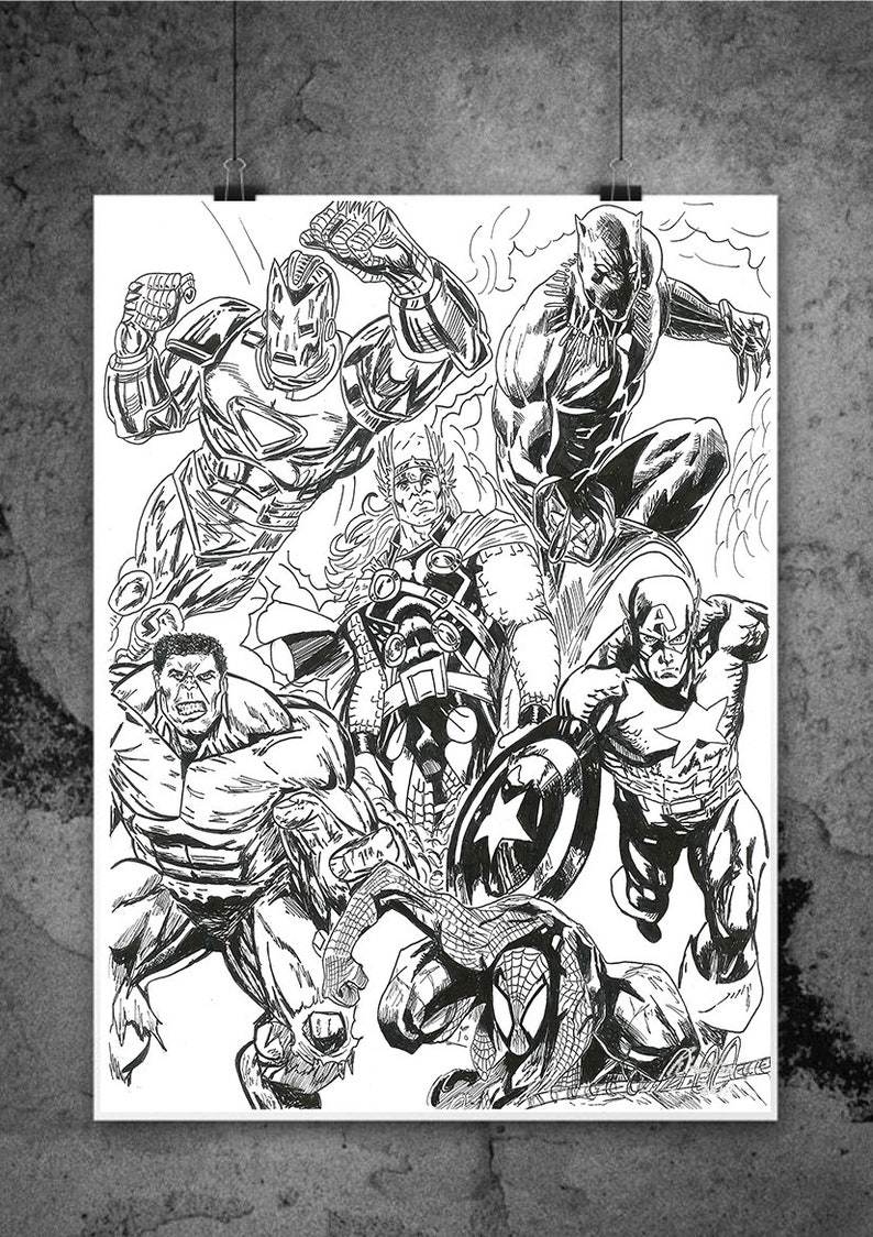 Comic book style Infinity War The Avengers Original Drawing