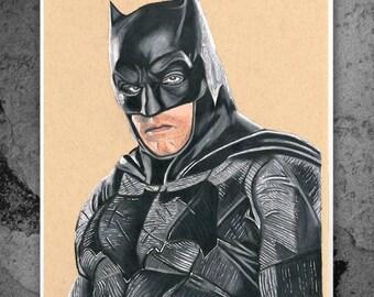 Batman - Ben Affleck - Illustrated Matt Print
