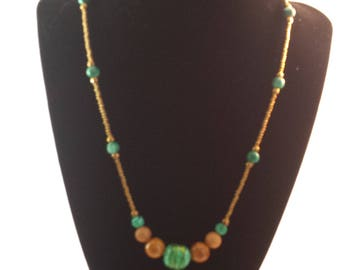 Beaded necklace with green Italian lampwork focal bead