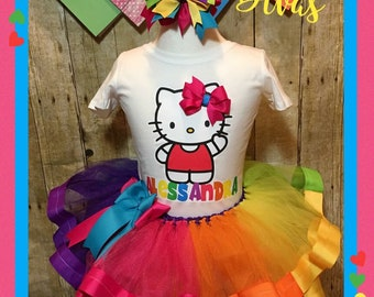 Hello Kitty Tutu Rainbow Birthday Outfit Party Shirt Hair Bow