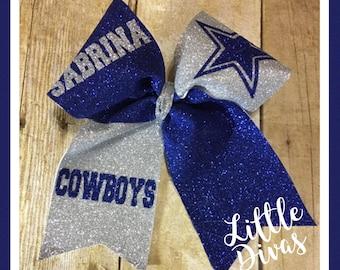 Dallas Cowboys cheer bow, Dallas Cowboys hair bow, Dallas Cowboys glitter hair bow, Dallas Cowboys personalized cheer bow,