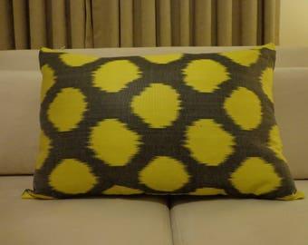 yellow polkadot pillows,yellow polkadot ikat,silk ikat pillowssilk throw pillows,polkadot pillows,yellow and gray pillows,gray ikat pillows