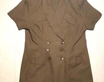 Vtg Plus size 20 80s pop shirt dress double breasted dress azure blue 80s secretary dress Women/'s belted dress batwing sleeve  dress
