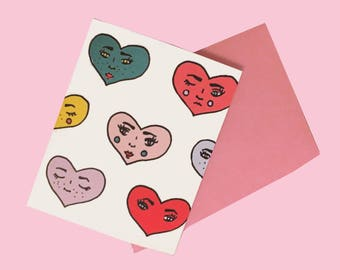 Heart Faced Valentine's Day Card
