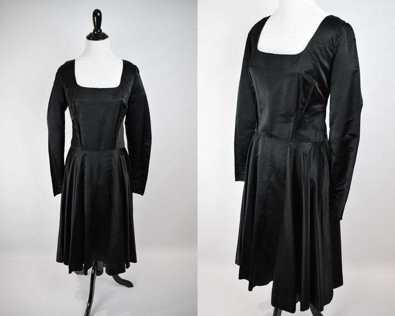 aca1ad02c0 1950s Satin Midi Dress    1950s New Look Dress    50s Black