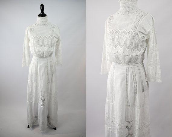 1910s Edwardian Whitework Gown // Antique 1910s Ed