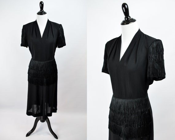 1940s Black Crepe Fringe Cocktail Dress // 1940s B