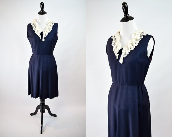 1950s Lace Collar Dress // 50s Sleeveless Day Dres