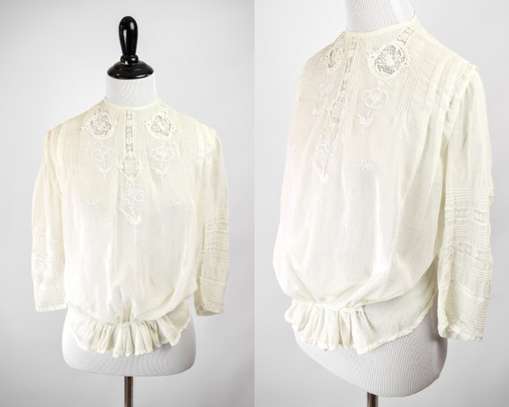 1910s Edwardian Bobbin Lace Blouse // Antique 1910