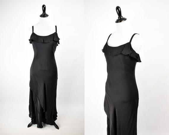 1990s Black Silk Ruffle Sleeveless Gown // Vintage