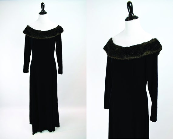 1990s Black Velvet & Faux Fur Off The Shoulder Gow
