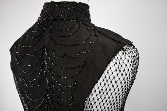1890s Victorian Mourning Jet Beaded Mantel Cape /… - image 8