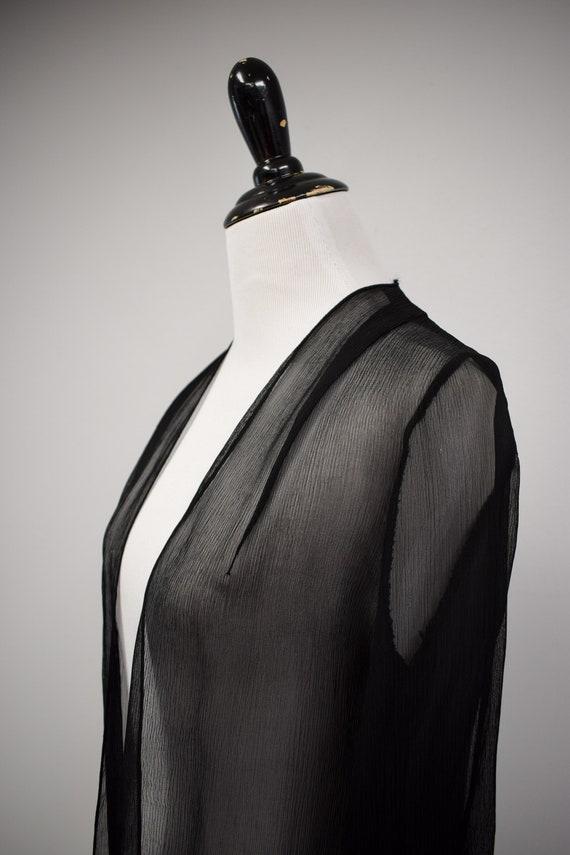 1930s Black Sheer Silk Georgette Duster Jacket //… - image 8