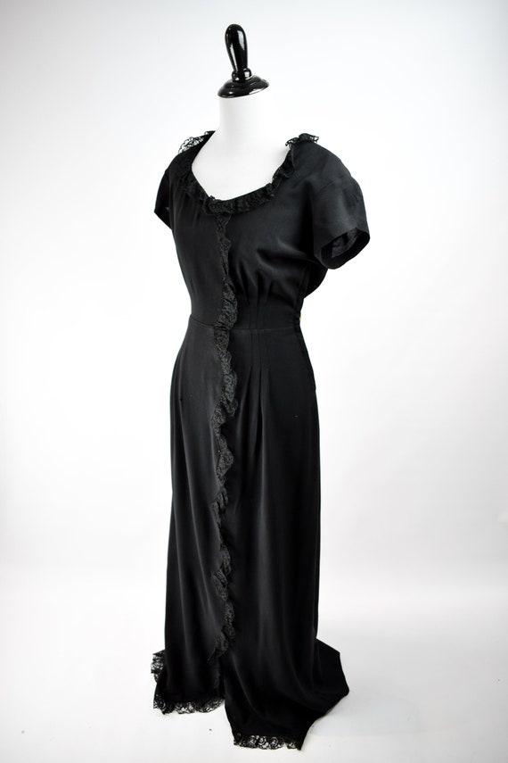 1940s Black Lace Trim Gown // Vintage 1940s Black… - image 3