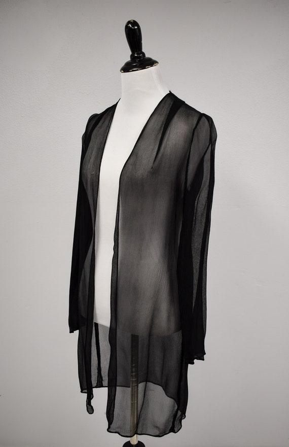 1930s Black Sheer Silk Georgette Duster Jacket //… - image 3