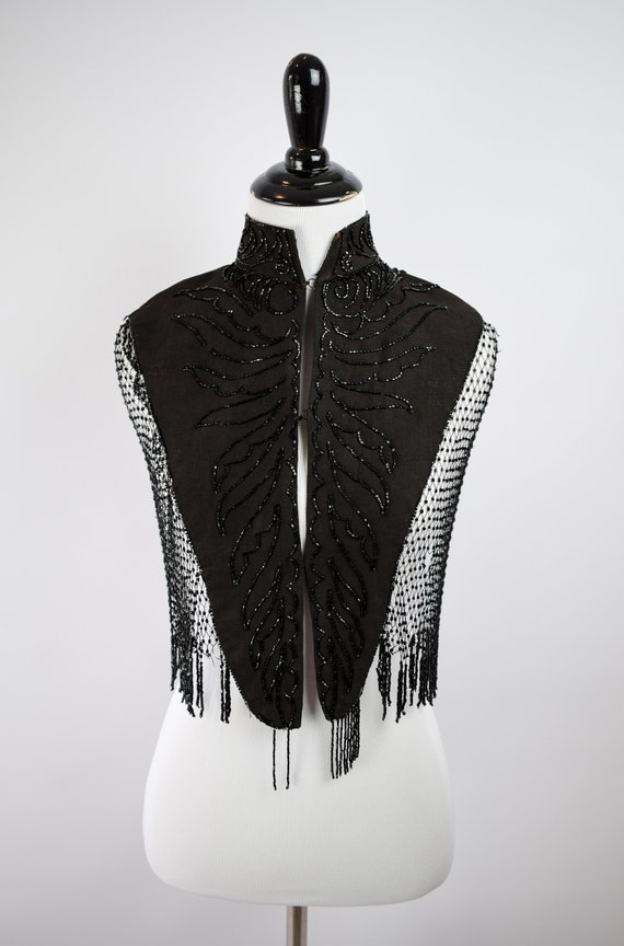 1890s Victorian Mourning Jet Beaded Mantel Cape /… - image 2