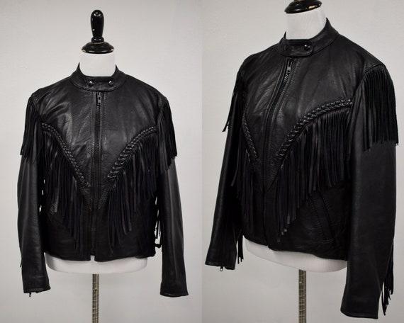 1980s Black Fringe Leather Jacket // Vintage 1980s