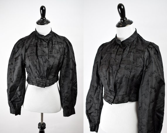 1890s Victorian Mourning Patterned Silk Bodice / A