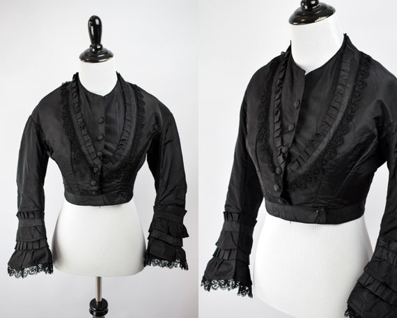 1880s Victorian Mourning Lace Bell Sleeve Bodice /