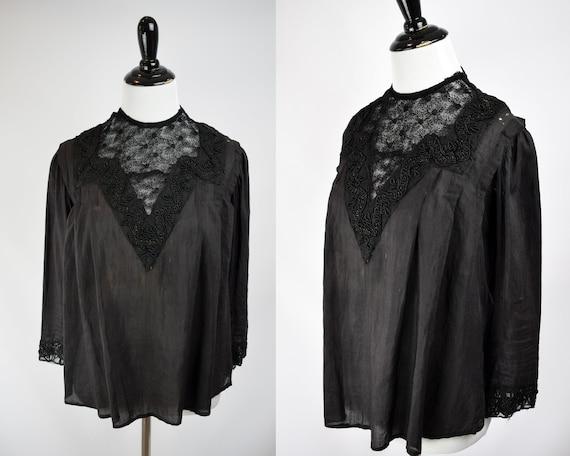 1900s Black Tissue Silk Soutache Blouse // Victori