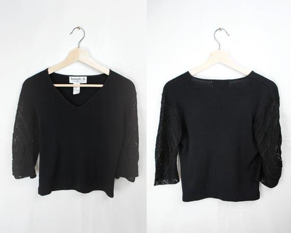 1990s Does 30s 40s Crochet Sweater // 90s Black Cr